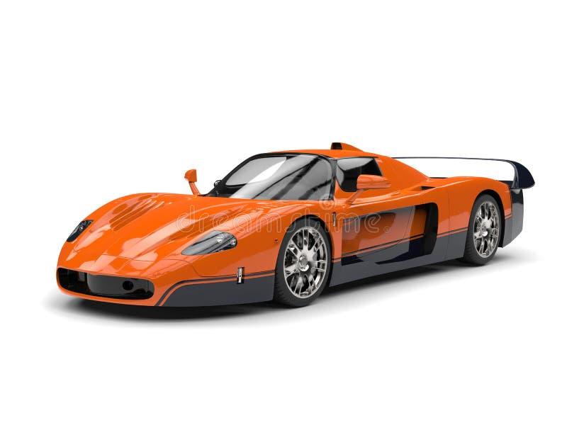 Automobile eccellente della corsa arancio di concetto con le decalcomanie nere illustrazione di stock