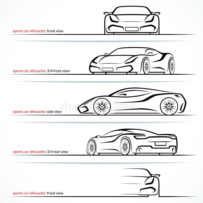 Automobile eccellente moderna, siluette di vettore dell'automobile sportiva, profili, contorni illustrazione vettoriale