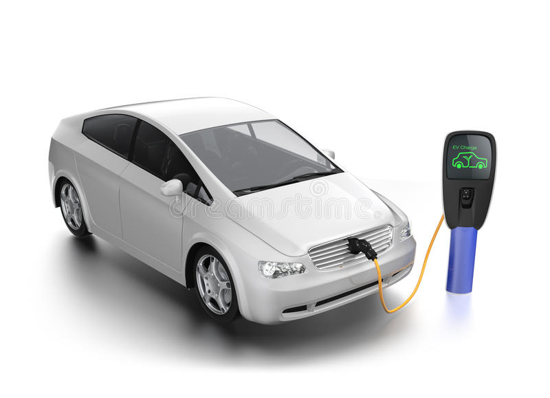 Automobile elettrica alla stazione di carico fotografie stock