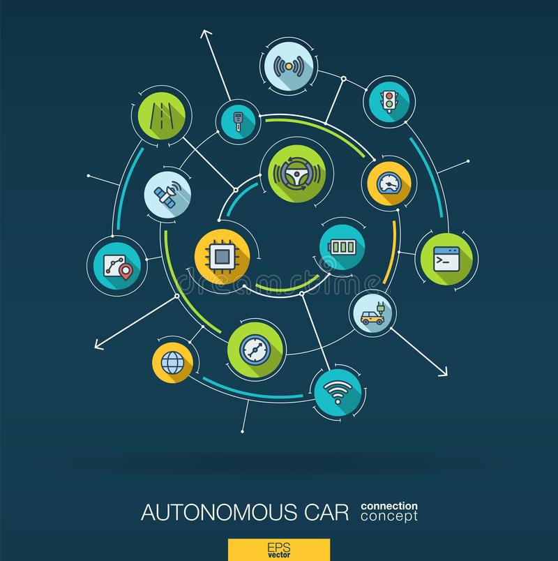 Automobile elettrica autonoma astratta, auto-movente, fondo del pilota automatico Digital collega il sistema con i cerchi integra illustrazione di stock