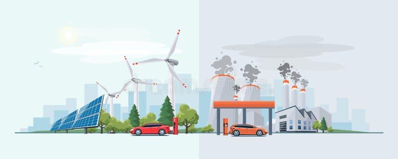 Automobile elettrica contro la fonte a energia di combustione fossile illustrazione di stock