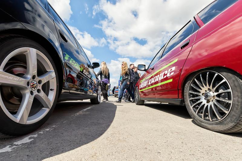 Automobile exhibition in the open air dedicated to tuning and ca royalty free stock photos