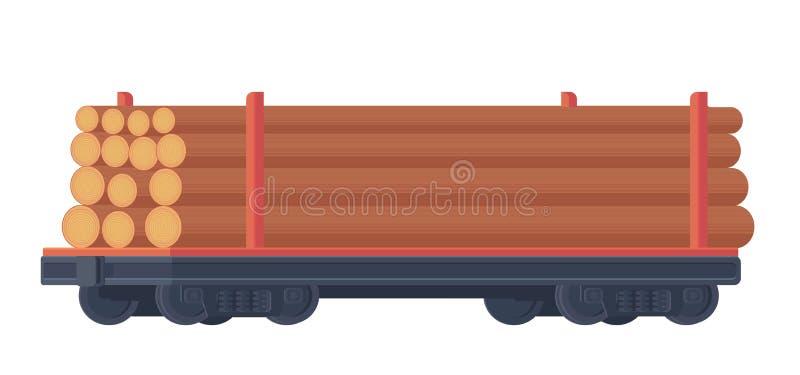 Automobile ferroviaria del treno per il contenitore del trasporto con legname grezzo Trasporto di ferrovia Industria di silvicolt illustrazione vettoriale