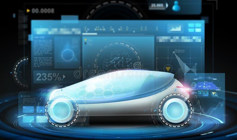 Automobile futuristica di concetto e schermi virtuali royalty illustrazione gratis