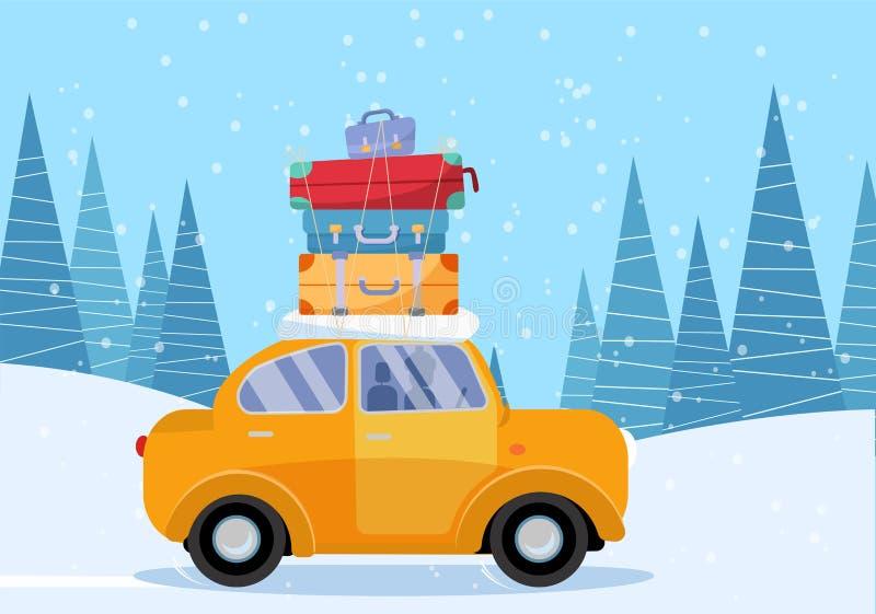Automobile gialla con la valigia sul tetto Famiglia di inverno che viaggia in macchina Illustrazione piana di vettore del fumetto royalty illustrazione gratis