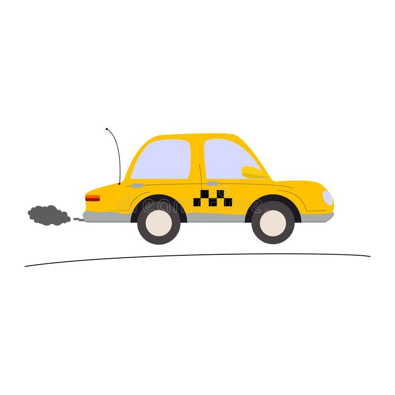 Automobile gialla del taxi su un fondo bianco fotografie stock