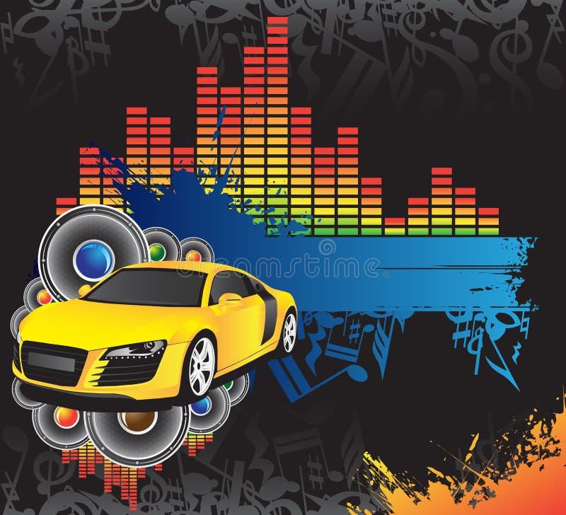 Automobile gialla e bandiera blu illustrazione di stock
