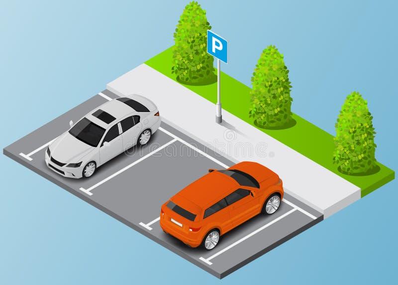 Automobile isometrica dell'illustrazione nel parcheggio e nei biglietti di parcheggio fotografia stock