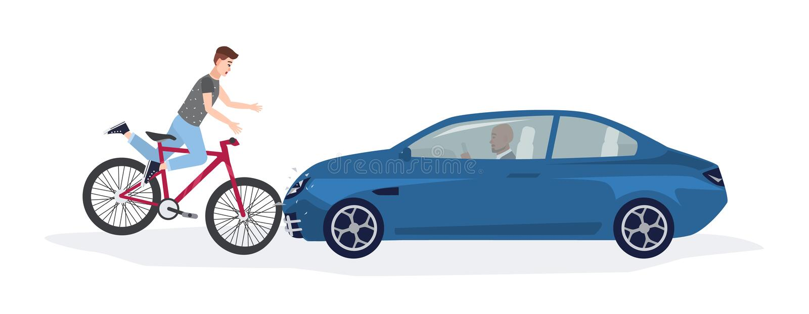 Automobile knocking down boy riding on bike. Head-on road collision with bicyclist involved. Car or traffic accident royalty free illustration