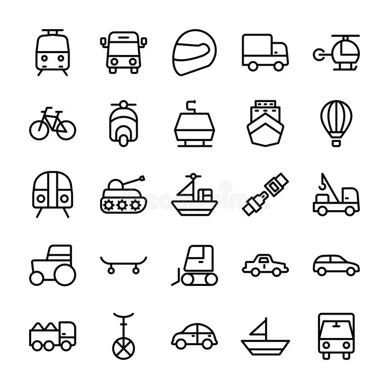 Automobile Line Vector Icons 1. Whether you like to travel by car, bus, train, bicycle, plane, boat or rocket ship, this automobile Vector Icons set is your one vector illustration