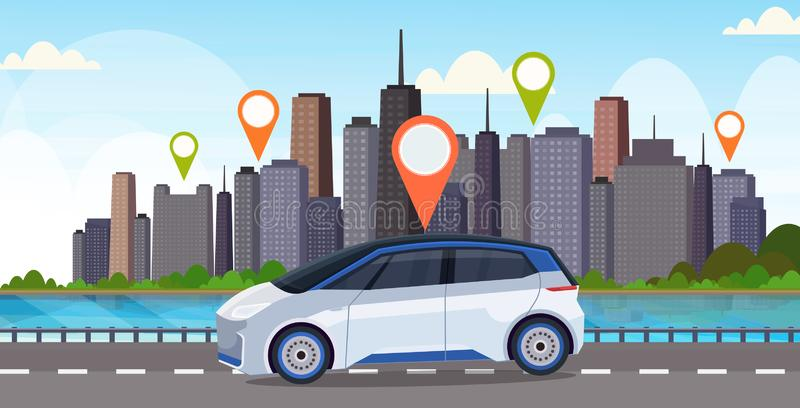 Automobile with location pin on road online ordering taxi car sharing concept mobile transportation carsharing service. Modern city street cityscape background stock illustration