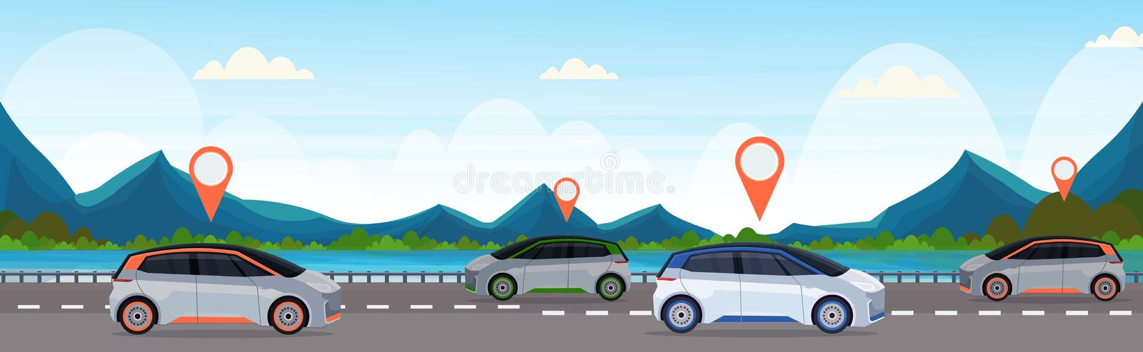 Automobile with location pin on road online ordering taxi car sharing concept mobile transportation carsharing service. Mountains river landscape background stock illustration