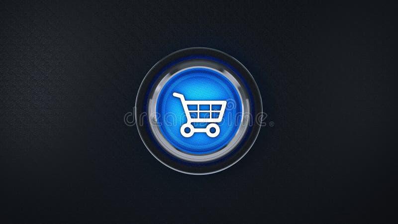 Automobile lucida di acquisto dell'icona di commercio elettronico 3d illustrazione vettoriale