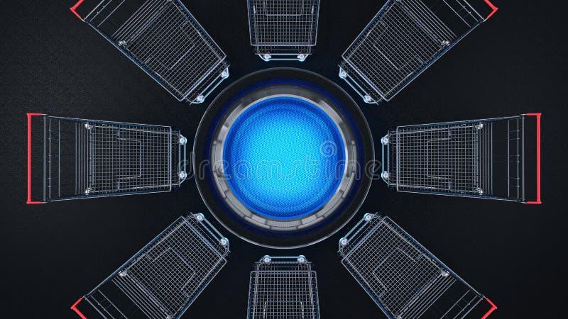 Automobile lucida di acquisto dell'icona di commercio elettronico 3d illustrazione di stock