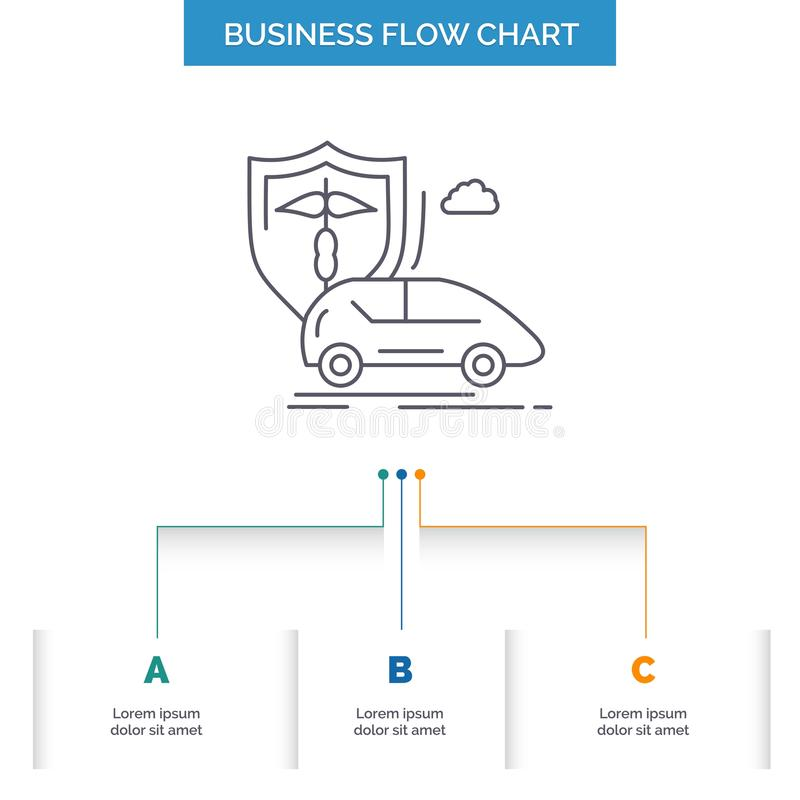 automobile, mano, assicurazione, trasporto, progettazione del diagramma di flusso di affari di sicurezza con 3 punti Linea icona  illustrazione vettoriale