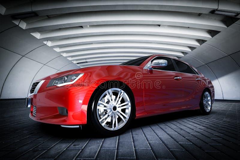 Automobile metallica rossa moderna della berlina nell'ambiente urbano - tunnel Progettazione generica, brandless royalty illustrazione gratis