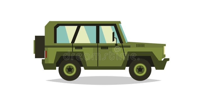 Automobile militare Soldati del trasporto Strumentazione speciale diesel Illustrazione di vettore Stile piano illustrazione di stock