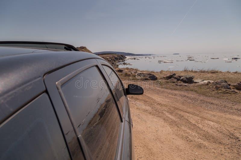 Automobile nera a Cabot Trail fotografia stock libera da diritti