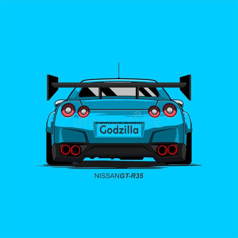 Automobile Nissan r35 gtr del fumetto illustrazione di stock
