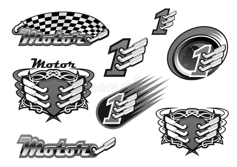 Automobile o motore che corre le icone di vettore illustrazione vettoriale