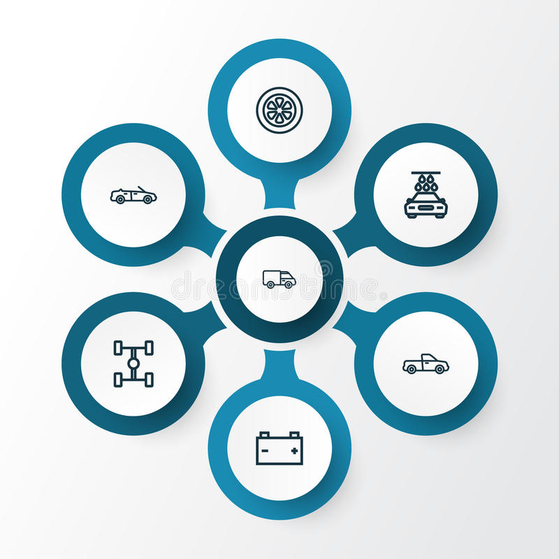 Automobile Outline Icons Set. Collection Of Wheel, Washing, Convertible Model And Other Elements. Also Includes Symbols stock illustration
