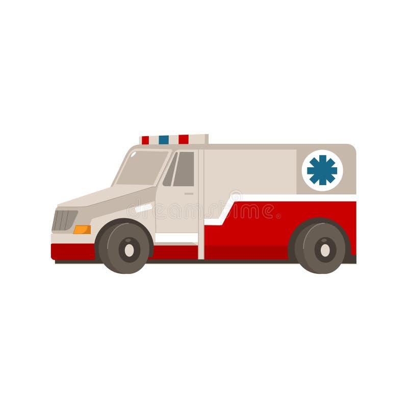 Automobile piana dell'ambulanza di emergenza del fumetto di vettore royalty illustrazione gratis