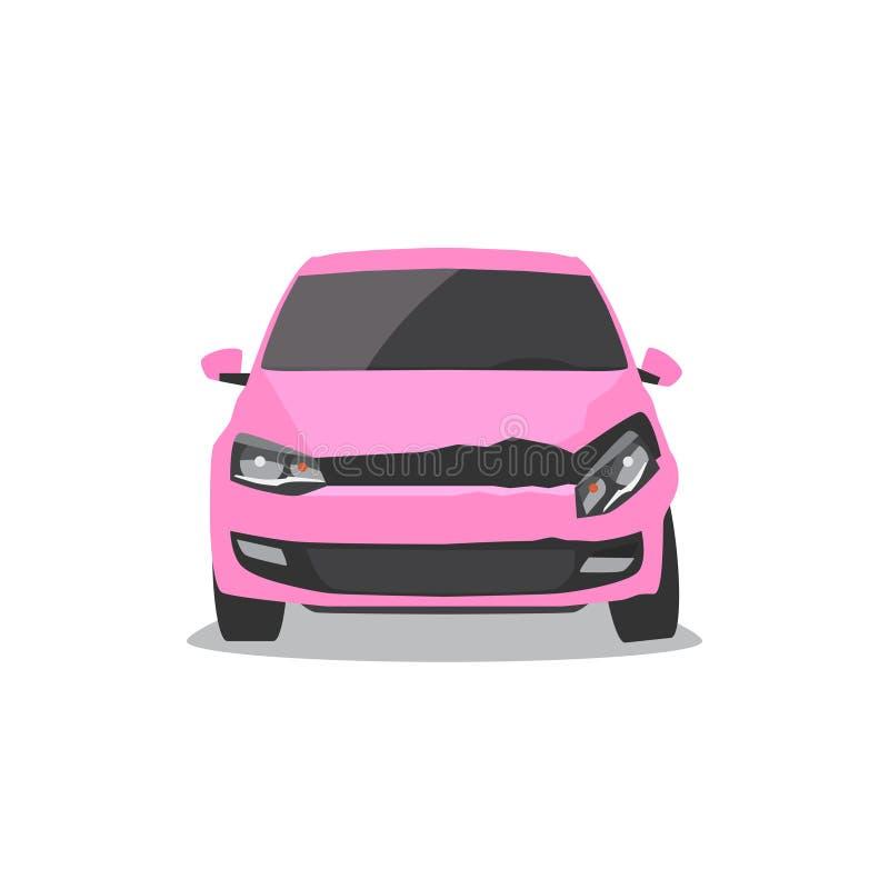Automobile rosa nociva Incidente stradale illustrazione vettoriale