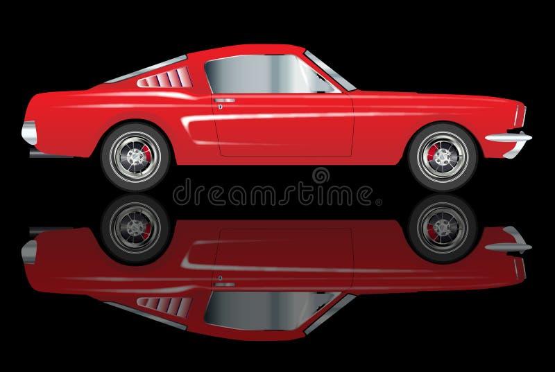 Automobile rossa classica molto veloce di vecchio stile con la riflessione illustrazione vettoriale