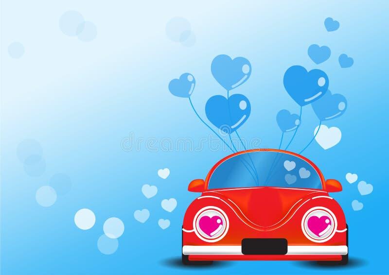 Automobile rossa con l'illustrazione blu di vettore del pallone del cuore fotografie stock libere da diritti