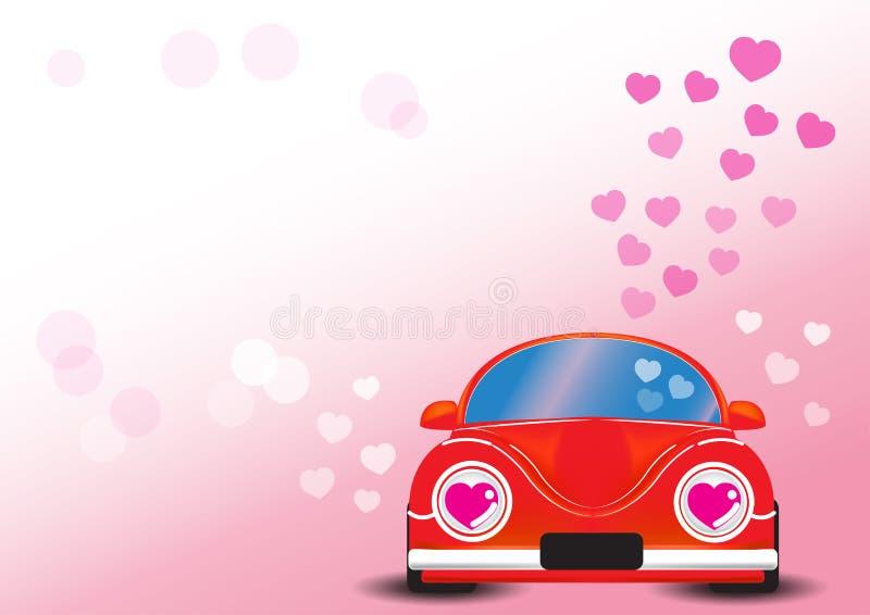 Automobile rossa con l'illustrazione di vettore del cuore immagini stock libere da diritti