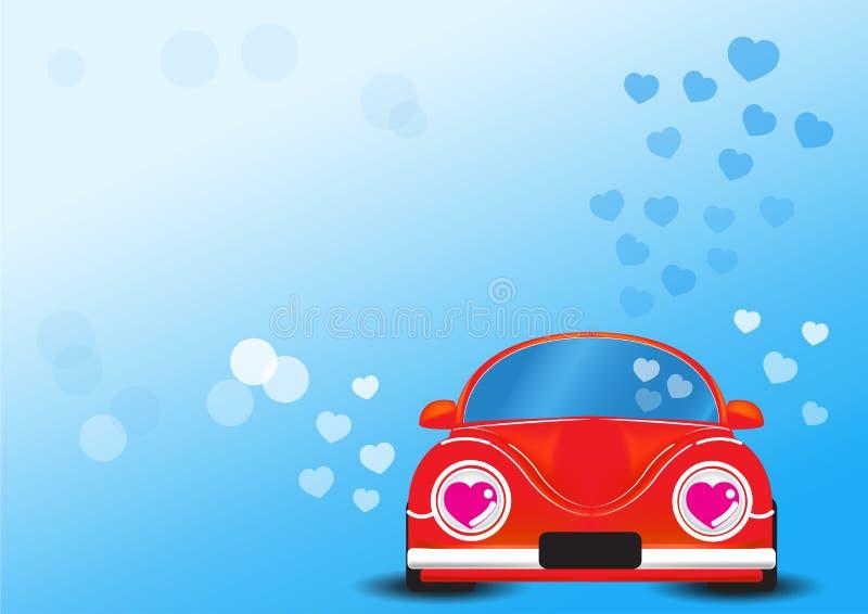 Automobile rossa con l'illustrazione di vettore del cuore immagini stock