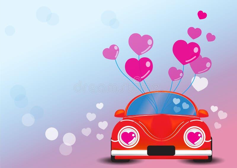 Automobile rossa con l'illustrazione di vettore del cuore fotografia stock