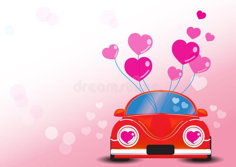 Automobile rossa con l'illustrazione di vettore del cuore immagine stock
