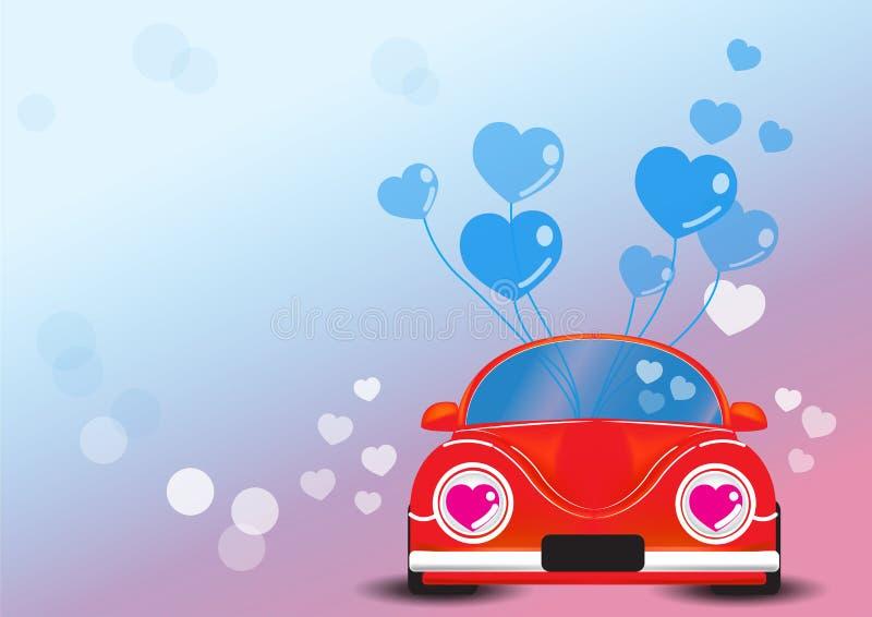 Automobile rossa con l'illustrazione di vettore del cuore fotografie stock libere da diritti