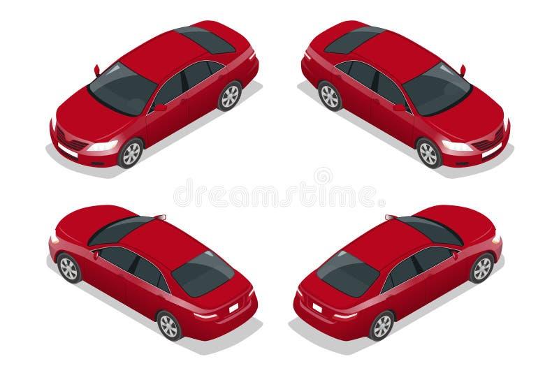 Automobile rossa della berlina Insieme isometrico piano dell'icona di trasporto della città di alta qualità Illustrazione di vett royalty illustrazione gratis