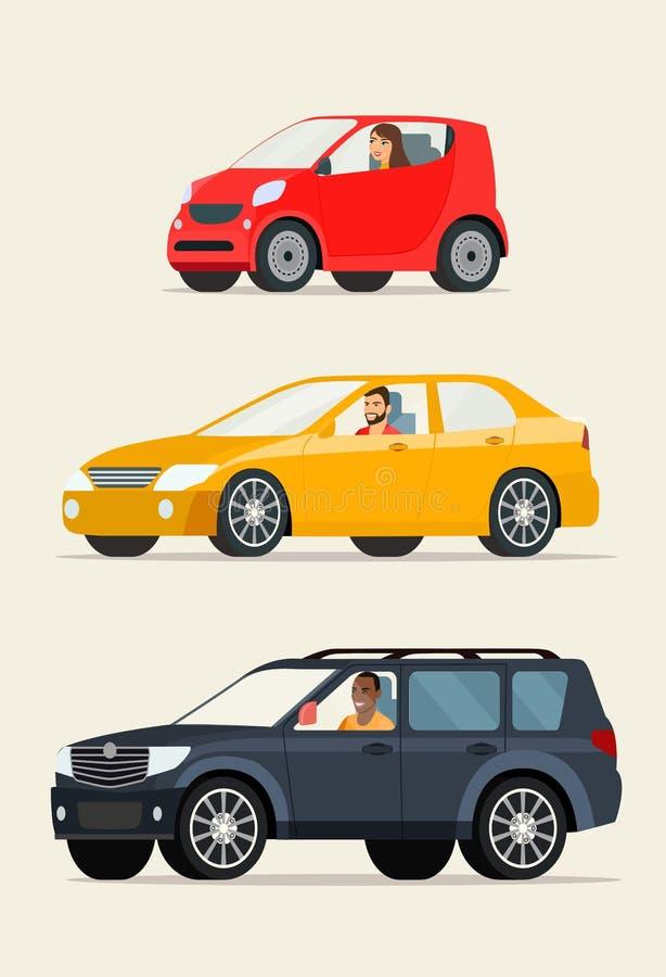 Automobile rossa della città del ompact del  di Ñ, automobile rossa della berlina ed automobile nera del suv illustrazione di stock