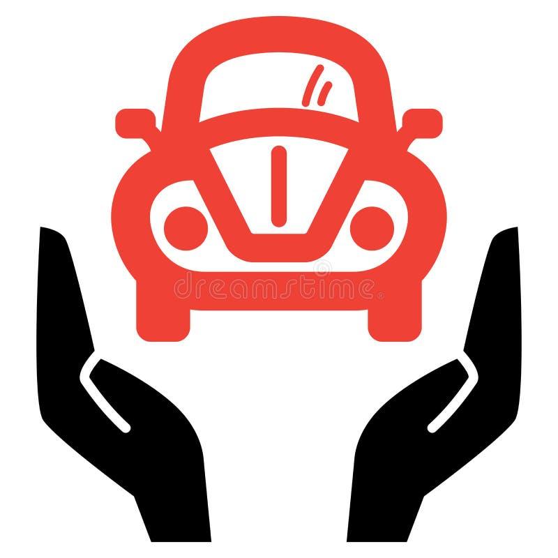 Automobile rossa in mani aperte royalty illustrazione gratis