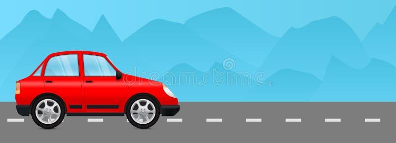 Automobile rossa su una strada Con il Mountain View royalty illustrazione gratis