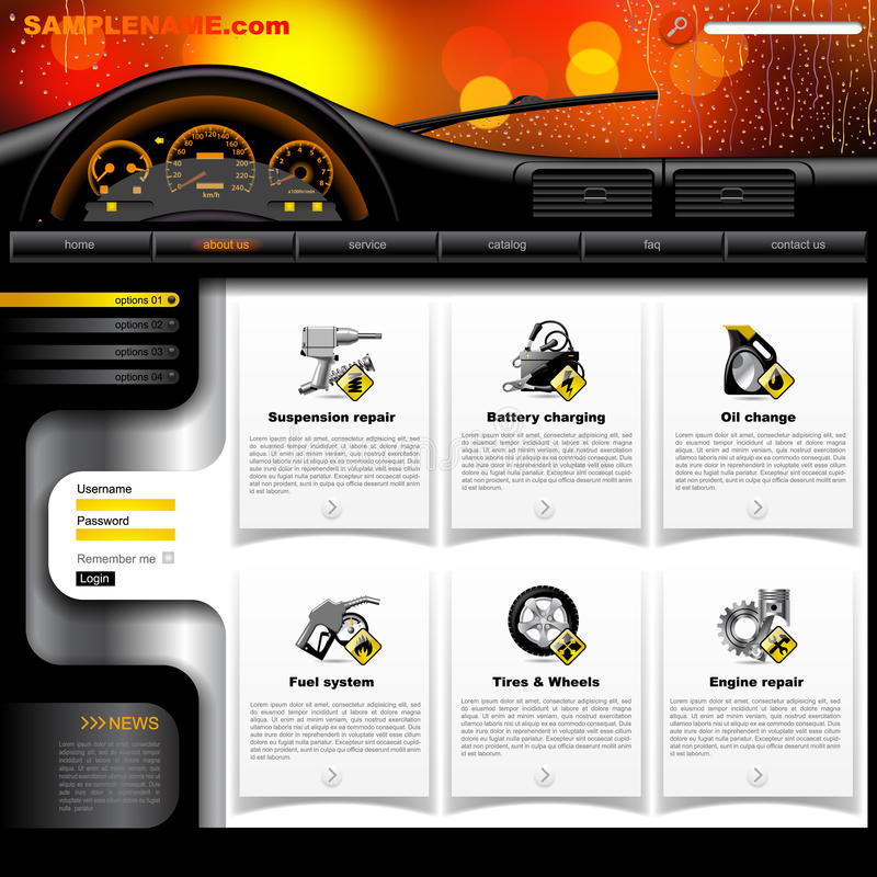 Automobile Service Website Template royalty free illustration