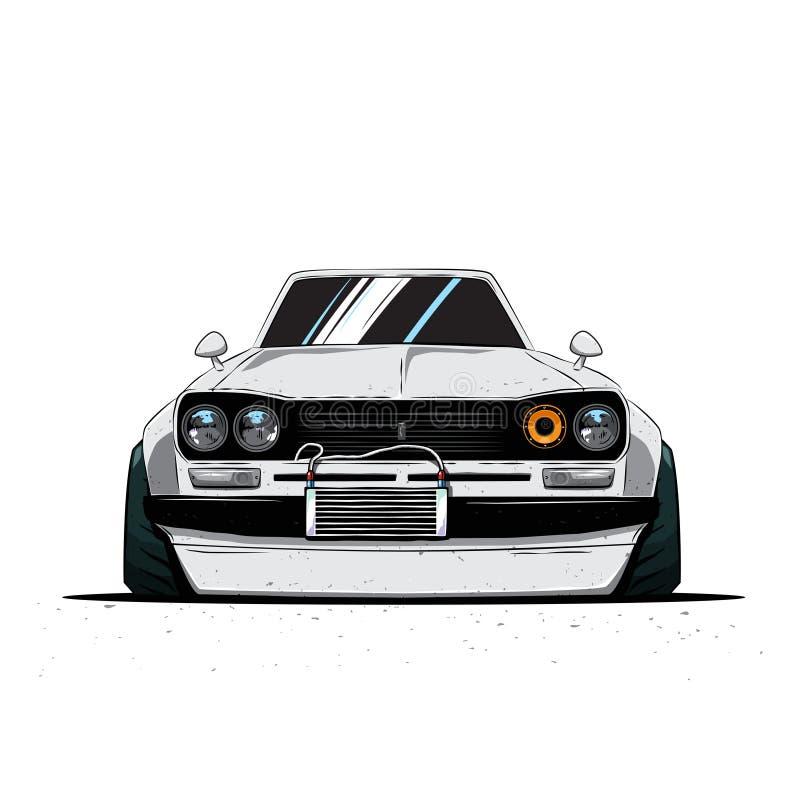 Automobile sintonizzata il Giappone del fumetto vecchia isolata Front View Illustrazione di vettore illustrazione di stock