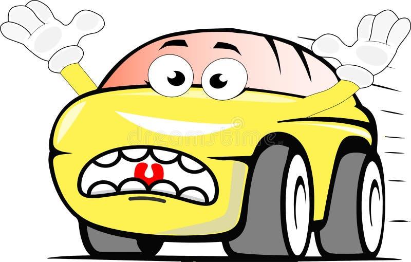 Automobile spaventata divertente del fumetto colorata giallo illustrazione vettoriale