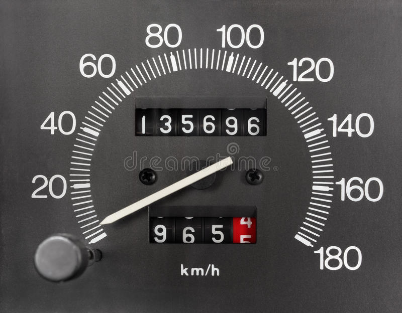 Automobile Speedometer and Odometer. Automobile Analogue Speedometer and Odometer royalty free stock images
