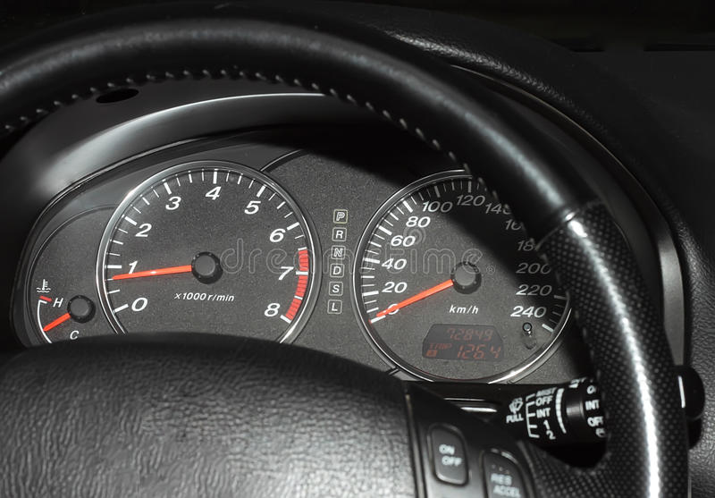 Automobile speedometer and tachometer royalty free stock photos