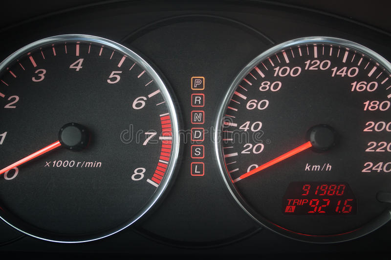 Automobile speedometer and tachometer stock images