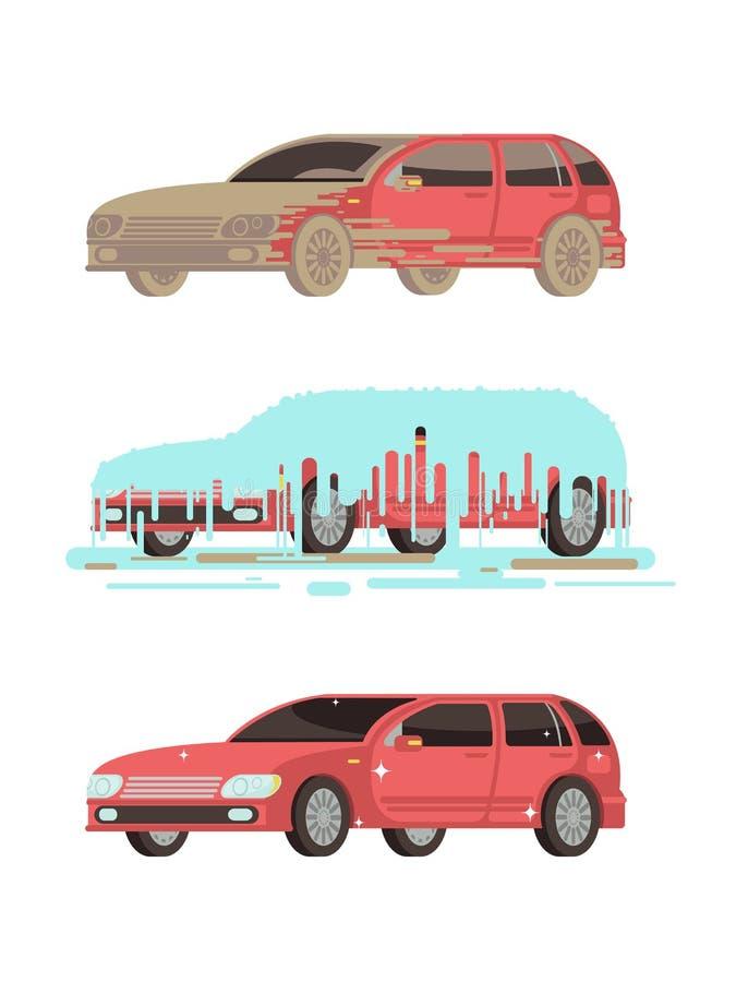 Automobile sporca e pulita di lustro Lavare l'insieme di vettore delle fasi illustrazione di stock