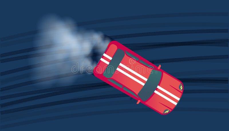 Automobile sportiva che va alla deriva sulla pista di corsa Concorrenza del Motorsport Illustrazione di vettore di vista superior illustrazione di stock