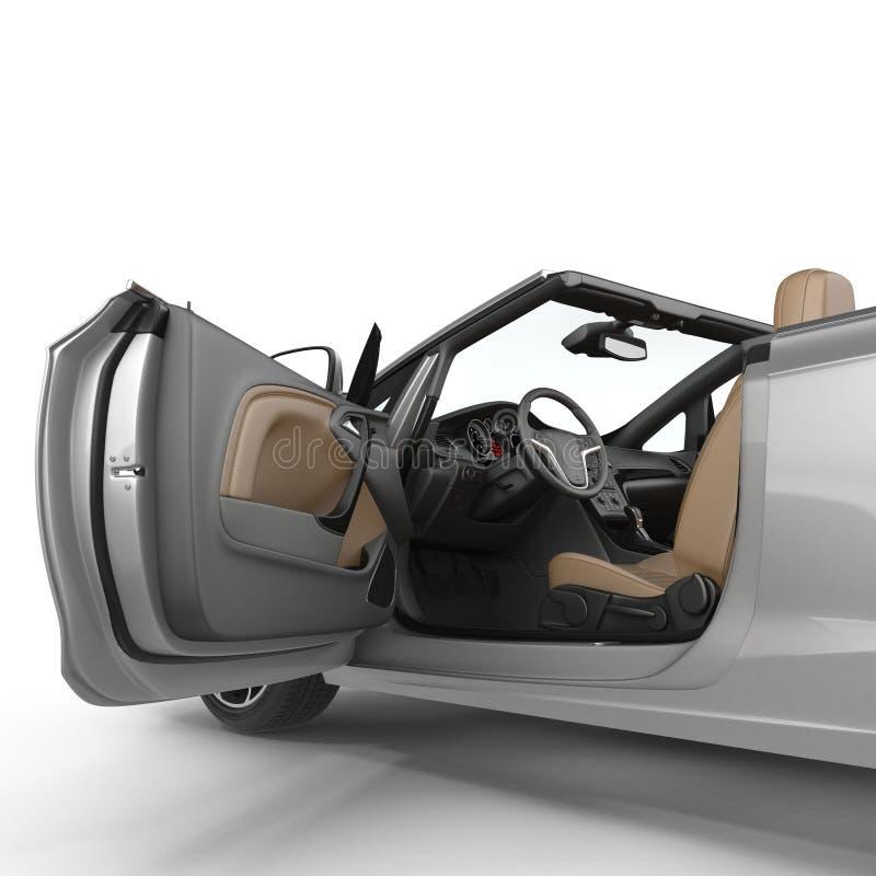 Automobile sportiva convertibile isolata su un fondo bianco Portello aperto illustrazione 3D illustrazione vettoriale