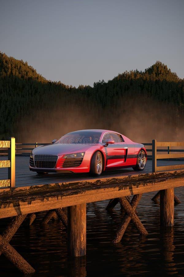 Automobile sportiva di lusso 3d illustrata, in un primo mattino illustrazione vettoriale