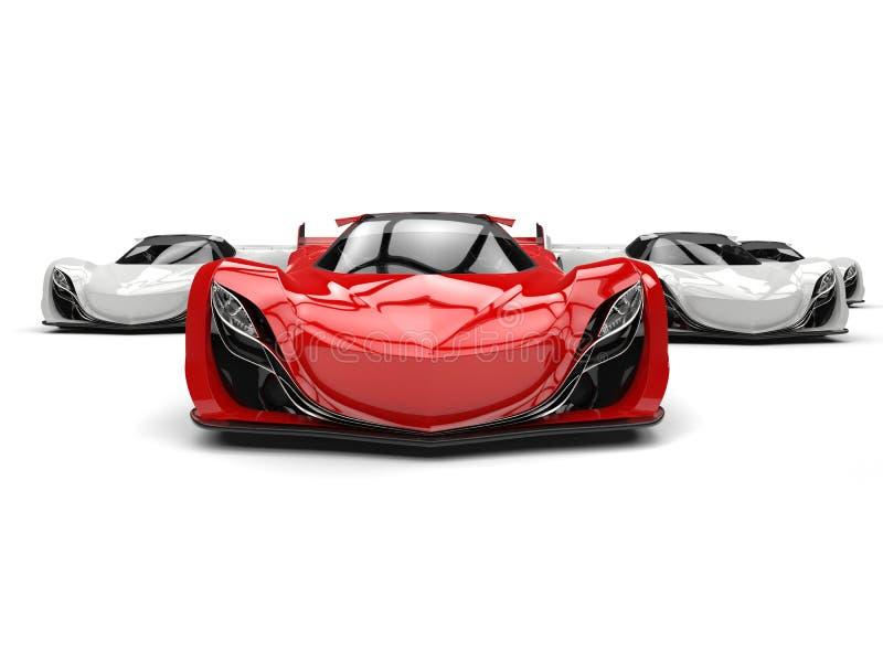 Automobile sportiva futuristica di concetto di rosso cremisi illustrazione di stock