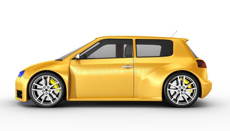 Automobile sportiva gialla - 3D rendono illustrazione di stock